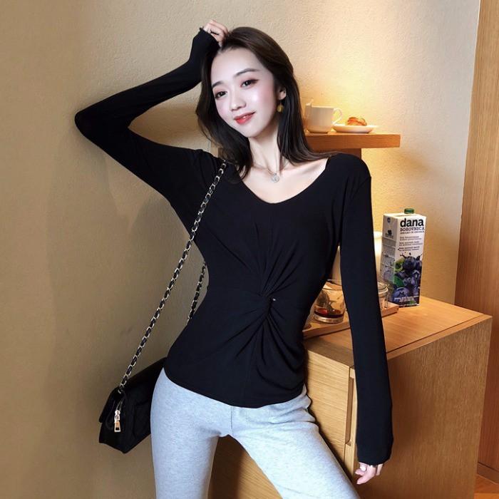 2019 ฤดูใบไม้ร่วงใหม่หญิงเกาหลีสองสวมใส่เครื่องระวัง bottoming เสื้อ