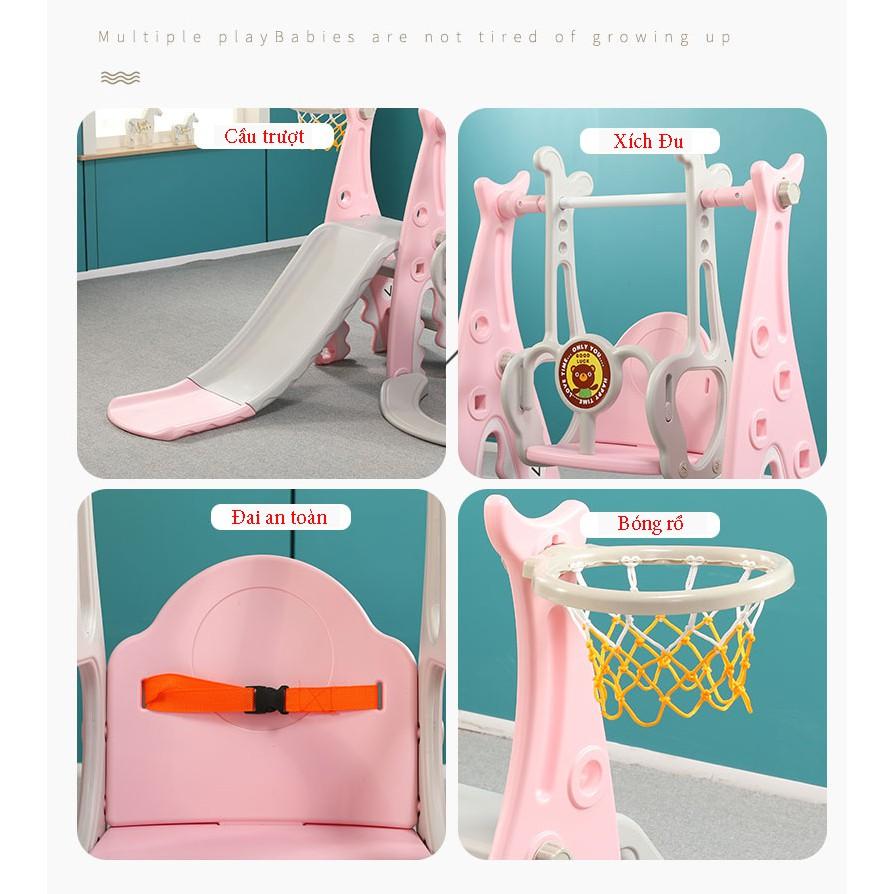 Cầu trượt cho bé tặng xích đu + bóng rổ - Cầu trượt xích đu - Cầu trượt trẻ em