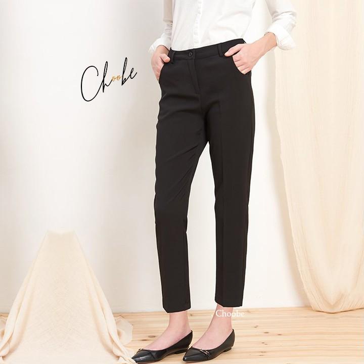 Mặc gì đẹp: Sang trọng với Quần tây nữ Choobe công sở lưng cao vải âu baggy màu xanh đen nâu đi học đẹp trẻ trung dáng dài Q07