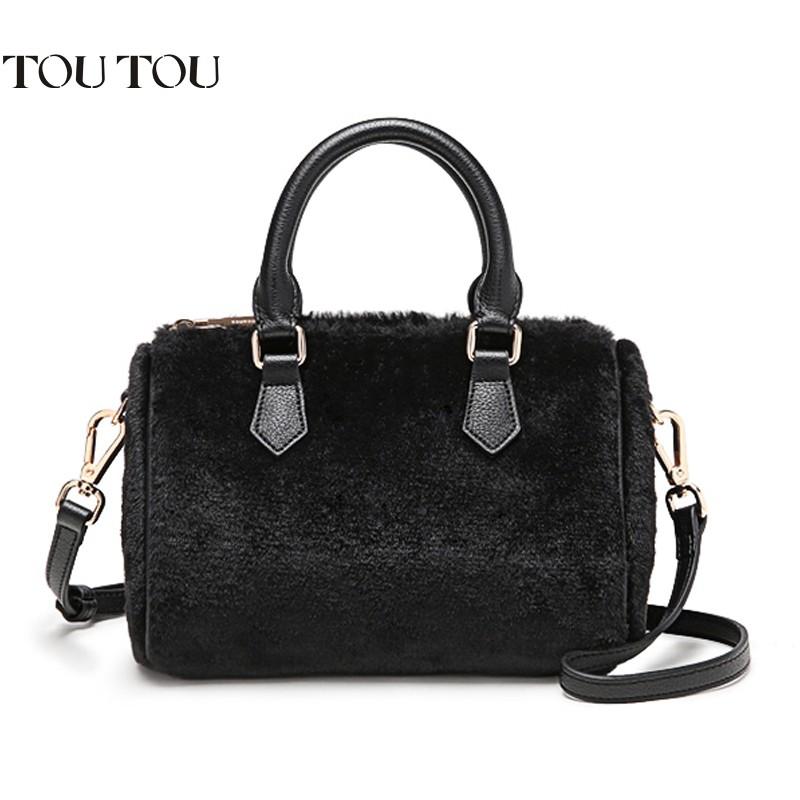 Chính hãng nội địa Trung_Túi xách lông thỏ cao cấp TOUTOU kiểu dáng sang trọng nổi bật T3181
