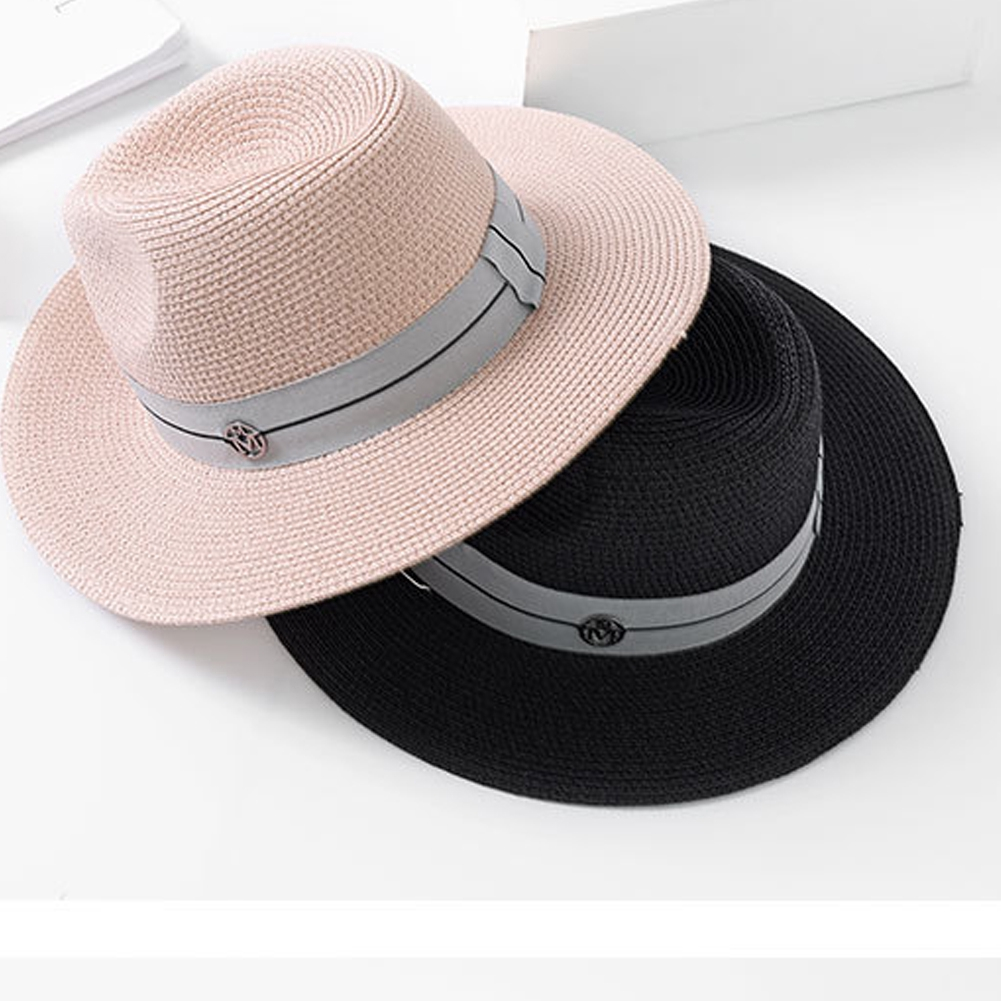 Flat Brim Fashion Sun Protection Summer Panama Straw Jazz Outdoor Beach Women Hats