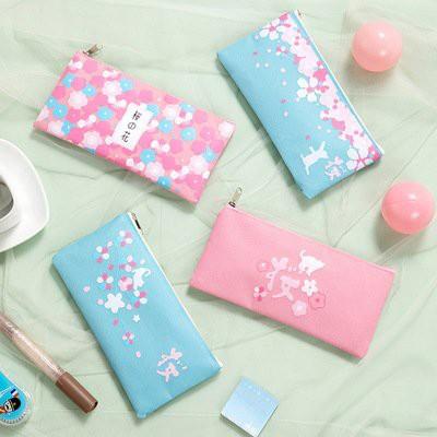 Hộp bút hoa HB215 Hộp bút túi viết bóp viết nhựa hộp bút dễ thương cute