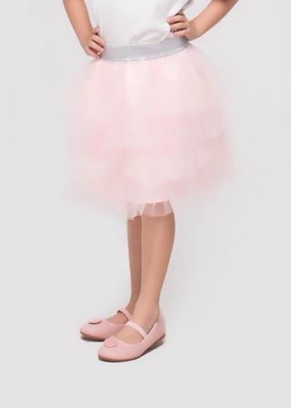 Chân váy lưới tầng hồng bé gái