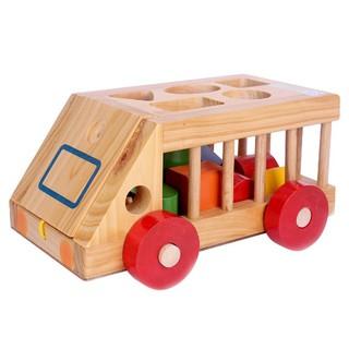 Ô tô gỗ thả hình khối – đồ chơi giáo dục cho bé