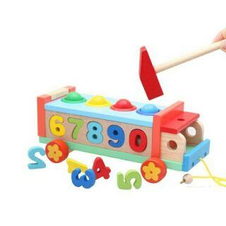 Xe đập bóng thả số- đồ chơi gỗ-đồ chơi thông minh