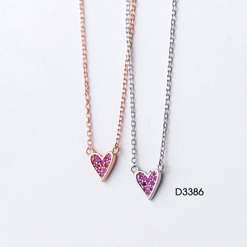 Dây chuyền Trái tim màu tím – D3386