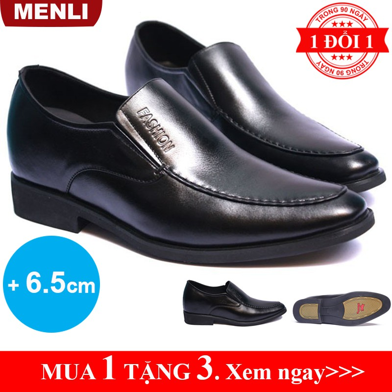 [DA BÒ] Giày tăng chiều cao nam giày lười giày đế cao nam da bò thật 100% MENLI GLSP45 - Có video - Bảo hành 12 tháng
