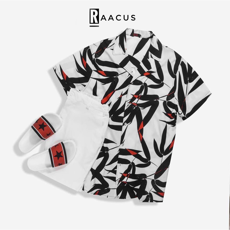 Áo sơ mi nam ngắn tay họa tiết lá trúc đẹp kiểu Hàn Quốc, áo sơ mi họa tiết đi biển tay ngắn chất lụa unisex RAACUS-A089