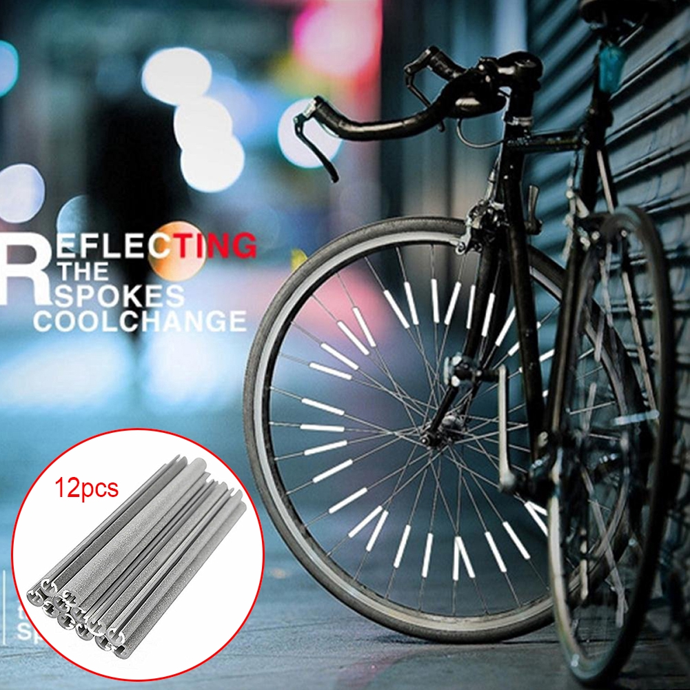 12pcs Reflective Mount Clip Tube Warning Strip Bicycle bike Wheel Spoke Reflector Mountain Rear Bike Light