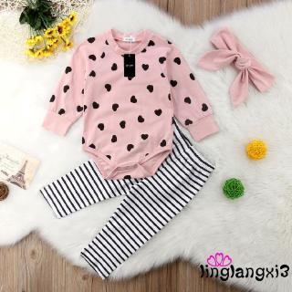 d❃♪Baby Girls Long Sleeve Romper Bodysuit +Stripe Pant+ Headaband Outfits Clothes 0-24m