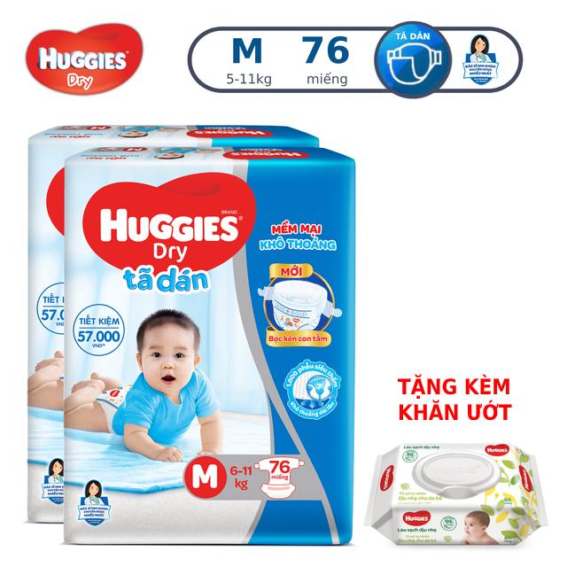 Combo 2 Tã dán Huggies Dry Super Jumbo M76/L68/XL62/XXL56:M76
