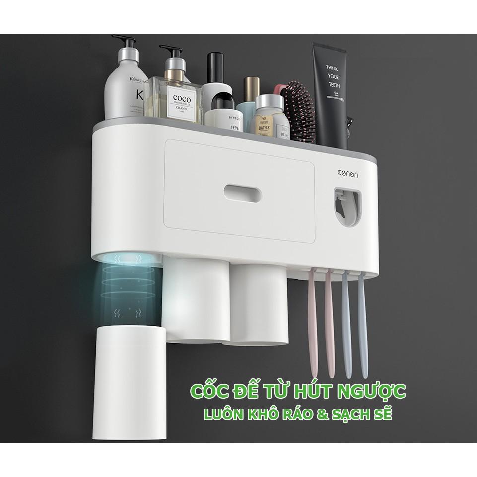 Kệ để đồ nhà tắm dán tường để bàn chải , tặng kèm cốc có bộ phận nhả kem thông minh