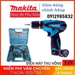 máy khoan pin makita 12V 🔥 NHỎ GỌN, SIÊU BỀN 🔥 kèm 24 phụ kiện tiện dụng