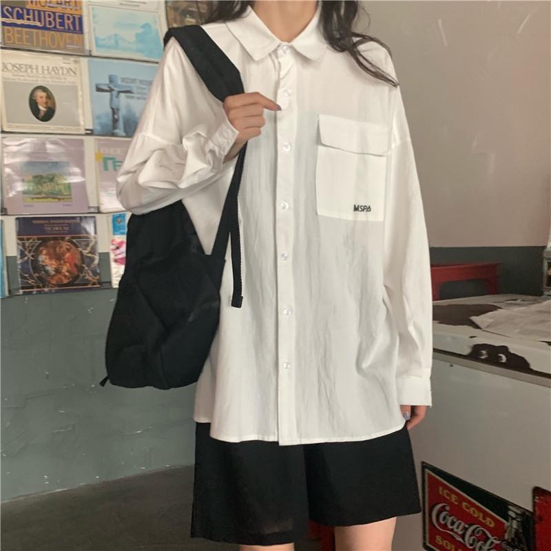 เสื้อ เสื้อเชิ้ตOversize  เสื้อเกาหลี แขนยาวสไตล์เกาหลี