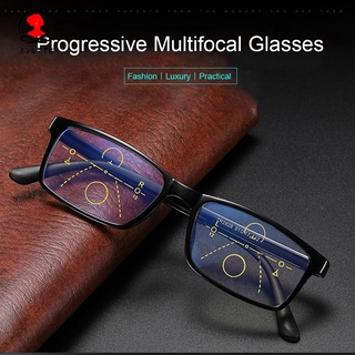 YVETTE Anti-fatigue Anti Blue Light Reading Glasses Anti-UV Computer Goggles Progressive Presbyopic Eyewear Men Women Fashion Anti-blue Rays Retro Classic Radiation Protection Multifocal Bifocal Eyeglasses brown/brown/brown