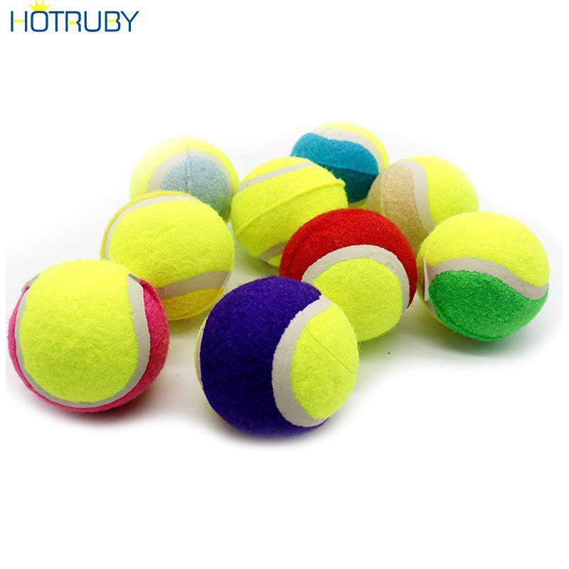 Tennis Balls Dog Squeaker Ball Fetch Toy Elastic Ball Natural Rubber Ball HTVN