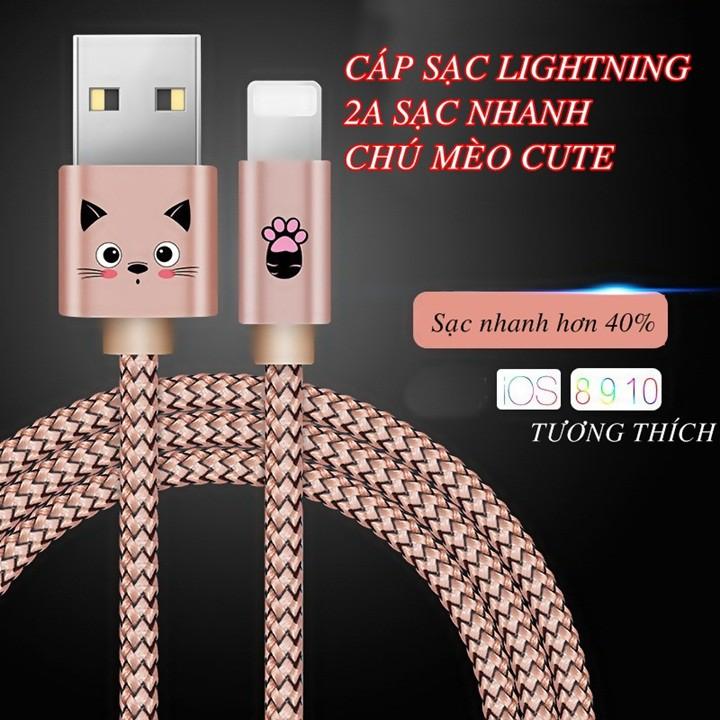Cáp Sạc Chú Mèo Kute Dây Dù Siêu Bền Lightning Cho Iphone/ Ipad