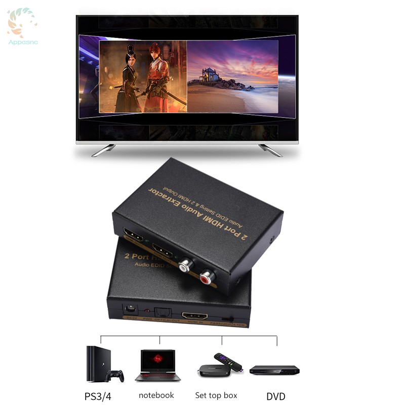 BEST] 1x2 HDMI Splitter with Integrated Audio Extractor