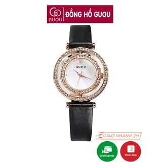 Đồng hồ nữ đeo tay dây da Guou mặt xoay 360 độc đáo chính hãng chống nước tuyệt đối 6039 thumbnail