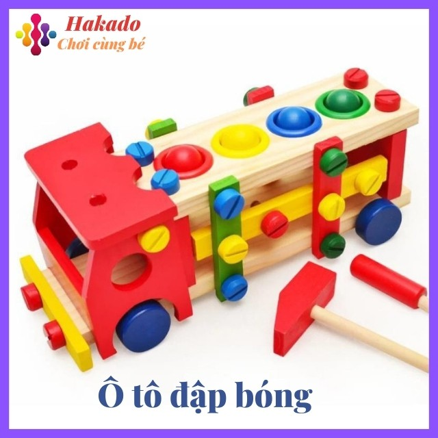 [ Hàng siêu đẹp] Đồ chơi gỗ đập bóng 2 trong một cho bé phát triển kỹ năng