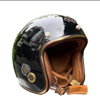 Mũ Bảo Hiểm 3/4 Napoli SH2 Ruby Màu Đen Bóng Size 53-59 Cm Chính Hãng - Nón 3/4 Napoli Bảo Hành 12 Tháng