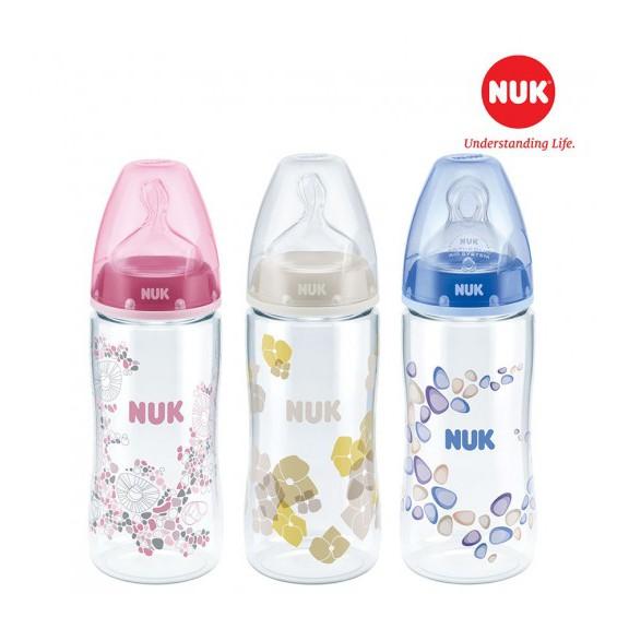 Bình sữa Nuk nhựa PA 150ml hoặc 300ml núm ti Silicone S1 - M/ S2-M chính