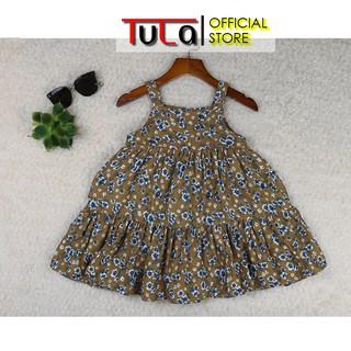 Váy Hai Dây Cho Bé Gái Vải Thô Xô 2 Lớp Vải Hàn Quốc Họa Tiết Hoa Nhí Xanh Trắng Nền Vàng