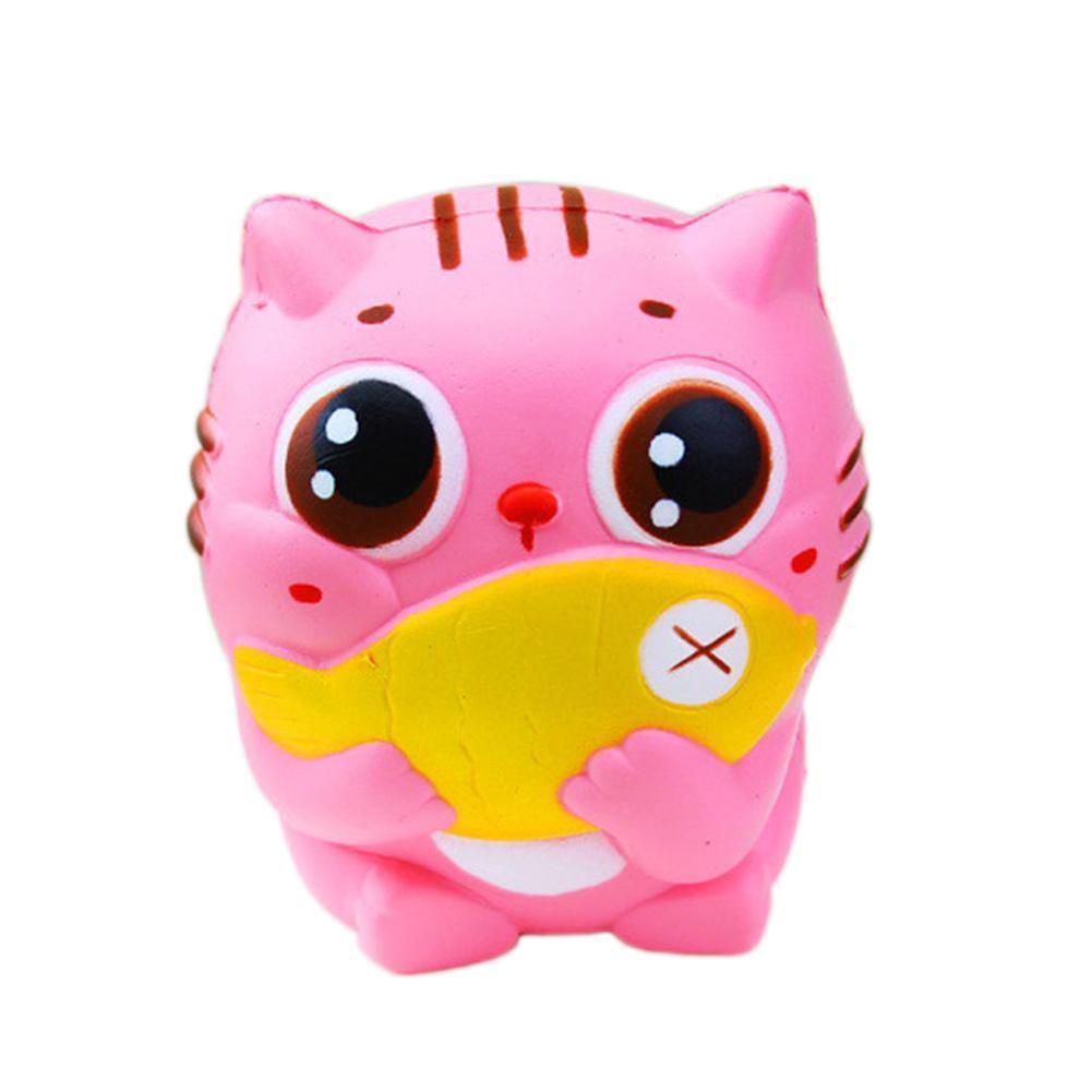 10CM Kawaii Cat Hold a Fish Animal Slow Rising Squeeze Phone Straps Squishies Kid Squeeze Toys Gift