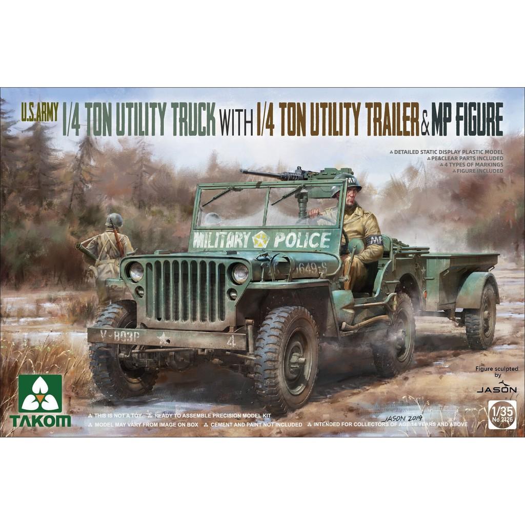 พลาสติก โมเดล ประกอบ สเกล 1/35 US Army 1/4 ton utility truck with MP figure