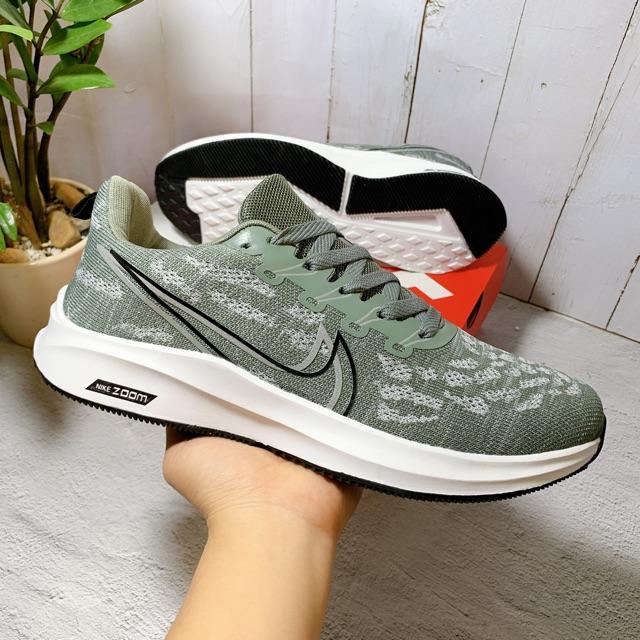 Giày sneaker thể thao zoom nam màu rêu nhạt mới nhất - kèm hộp