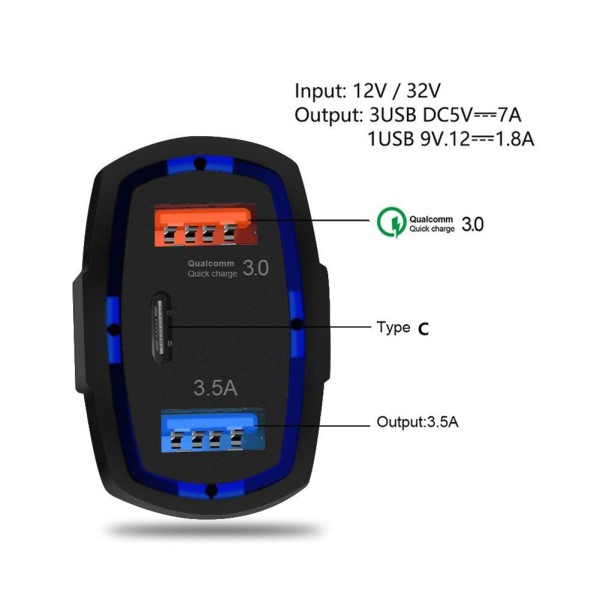 Quick Charge 3.0 with USB Type C Car Charger Built-in Power Delivery PD Port 35W