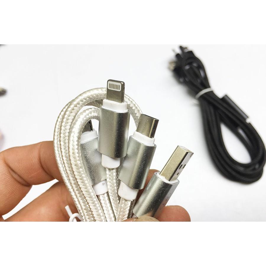 Bộ 02 Cáp sạc 3 đầu bọc dù dài 1,2m (microUSB + lightning + Type-C) - 2870557 , 1170865199 , 322_1170865199 , 49900 , Bo-02-Cap-sac-3-dau-boc-du-dai-12m-microUSB-lightning-Type-C-322_1170865199 , shopee.vn , Bộ 02 Cáp sạc 3 đầu bọc dù dài 1,2m (microUSB + lightning + Type-C)