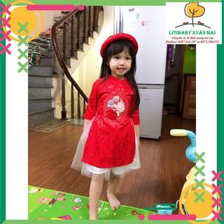 ĐỒ CHƠI TẾT 2021: Bộ  áo dài lụa BG Litibaby có mấn, cho bé từ 12kg đến 25kg, (bao gồm 1 áo dài, 1 chân váy, 1 mấn)
