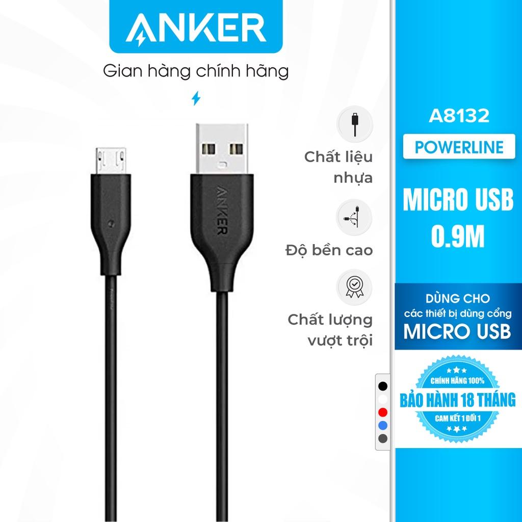 Cáp sạc ANKER PowerLine Micro USB dài 0.9m - A8132