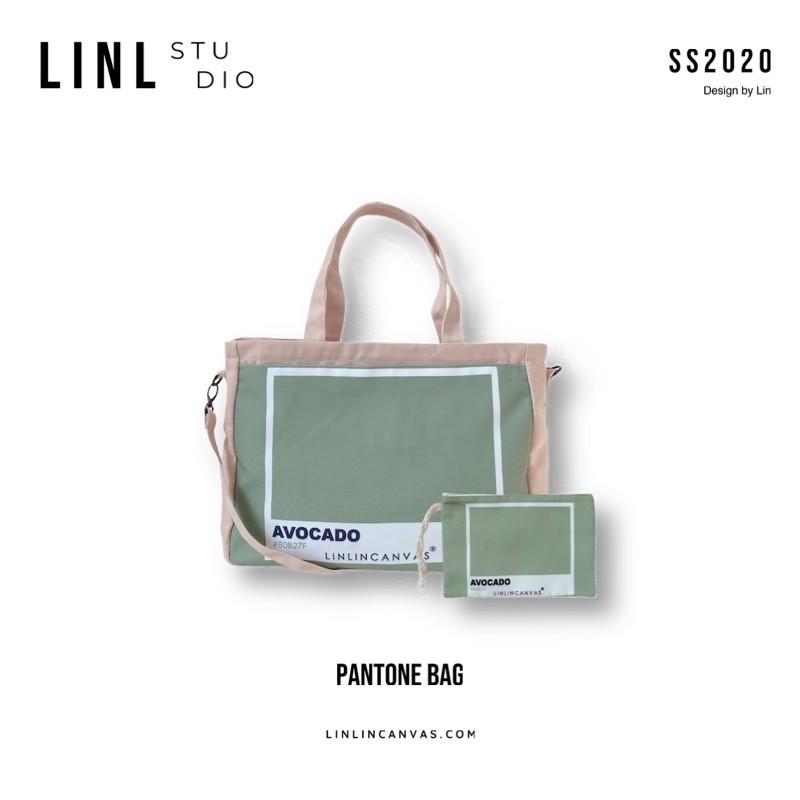 Túi vải nhiều ngăn - PANTONE - 6 màu - tặng kèm 1 ví cùng màu - LINLINC