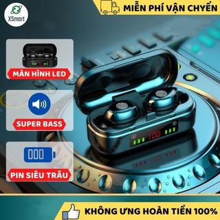 Tai nghe bluetooth không dây TW8 Bass mạnh, cảm ứng vân tay, có mic đàm thoại tương thích điện thoại, máy tỉnh bảng