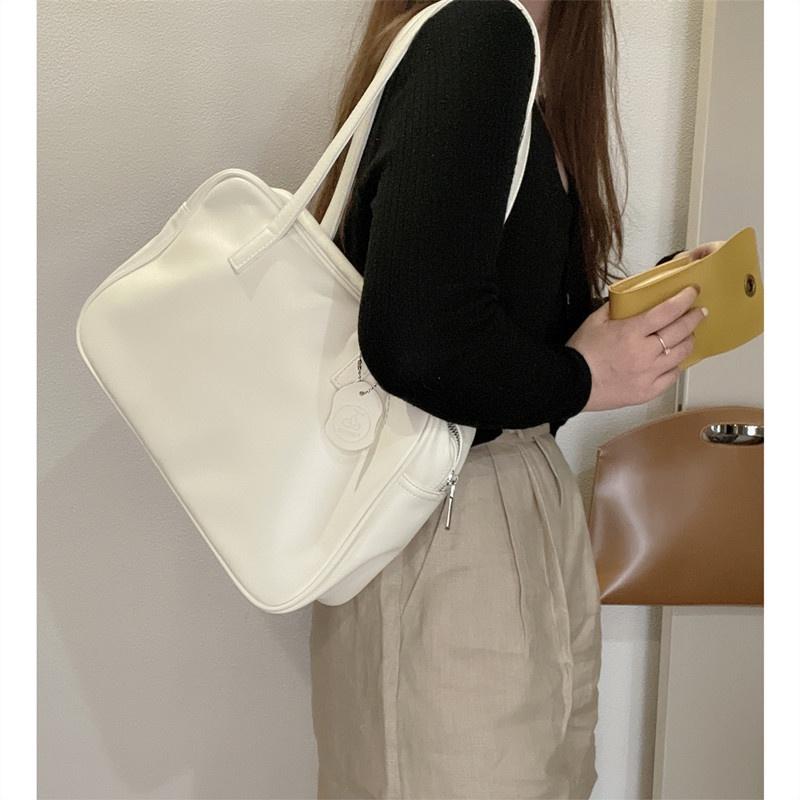Túi xách da mềm màu trơn cỡ lớn phối khóa kéo phong cách Retro Nhật hàn20210824