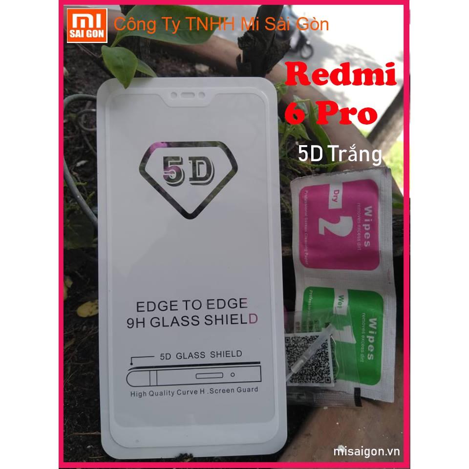 Kính cường lực REDMI 6 PRO (Trắng) 5D full màn + miếng lau