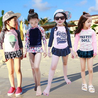 1-10 Yrs Girl's Cute Long Sleeve Swimsuit Kids Baby Floral Ruffle Swimming Wear Toddler Pretty 2pcs/Set Swimsuit