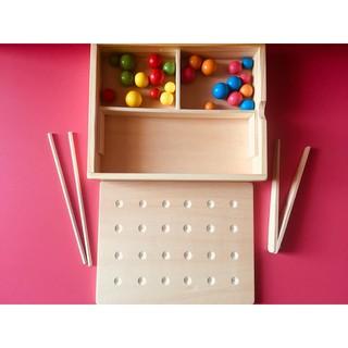 Set rèn kỹ năng dùng Kẹp gỗ và Đũa – Montessori- Mã KGĐ