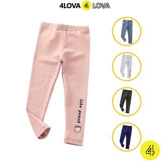 Quần legging 4LOVA dáng ôm chất thun cotton co giãn in họa tiết hoa quả cho bé gái