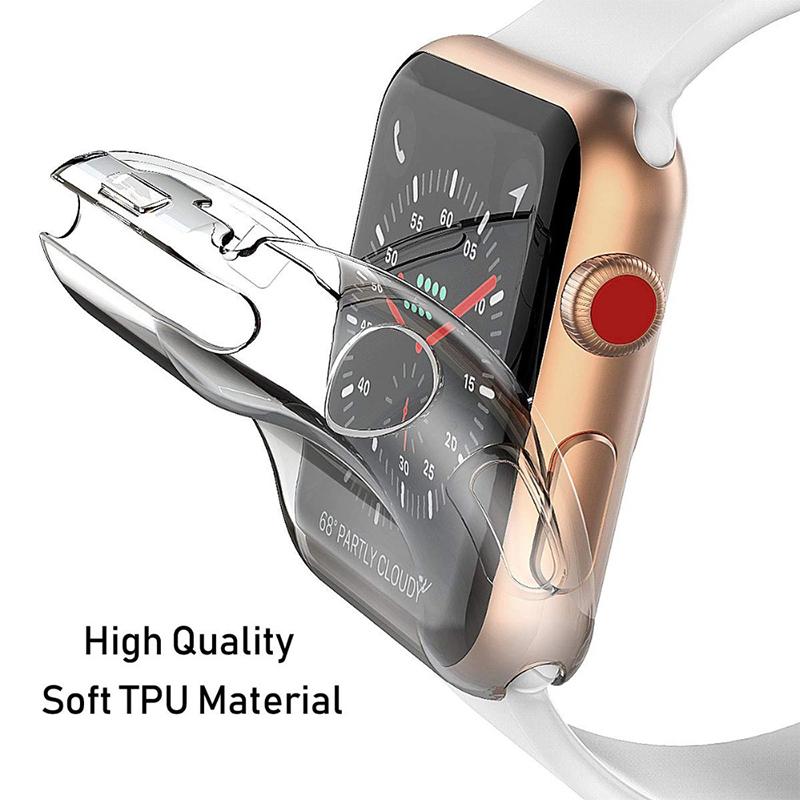 Ốp Lưng Silicone Trong Suốt Cho Đồng Hồ Thông Minh Apple Watch Se 6 5 4 3 2 1 38mm...