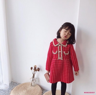 Đầm Sweater Dài Tay Cổ Bẻ Họa Tiết Sọc Caro One Piece Cho Bé Gái