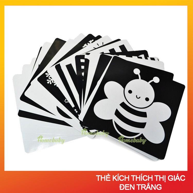 Bộ thẻ flashcard kích thích Thị giác đen trắng cho bé sơ sinh từ 0- 6 tháng, kích thước 16 x 16 cm