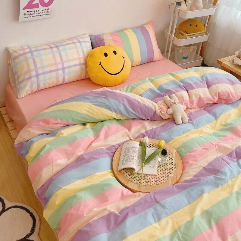 Bộ chăn ga gối Cotton poly M2T Bedding đáng yêu chăn ga Hàn Quốc miễn phí bo chun drap ga giường
