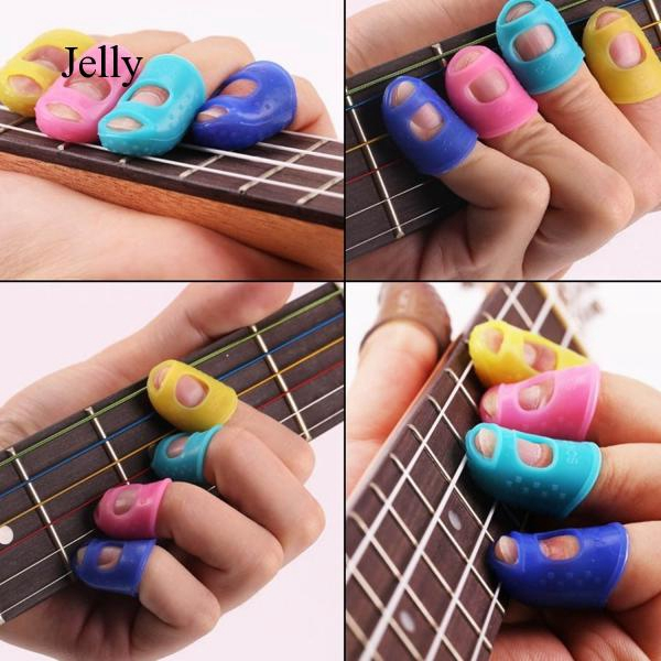 10pcs 5 Silicone Guitar Fingertip Cover Colors Picks Plectrum for Electric J357