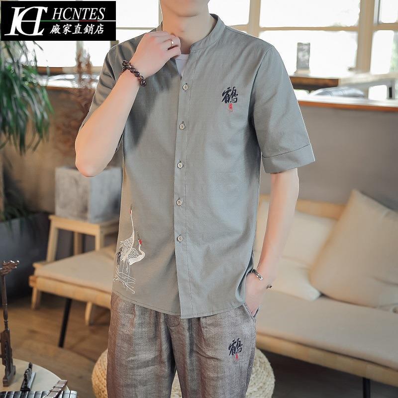 เสื้อเชิ้ตแขนสั้นปักลายแฟชั่นสไตล์คนจีน