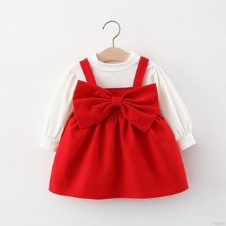 Bộ Đầm Yếm Màu Đỏ Thời Trang Xuân Thu 2021 Cho Bé Gái 110-11-xl