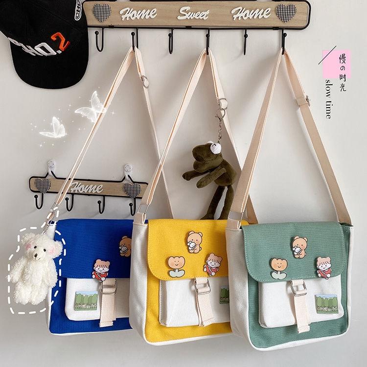 Túi Xách Nữ Vải Bạt Thời Trang Hàn (móc treo hình thú mua riêng)