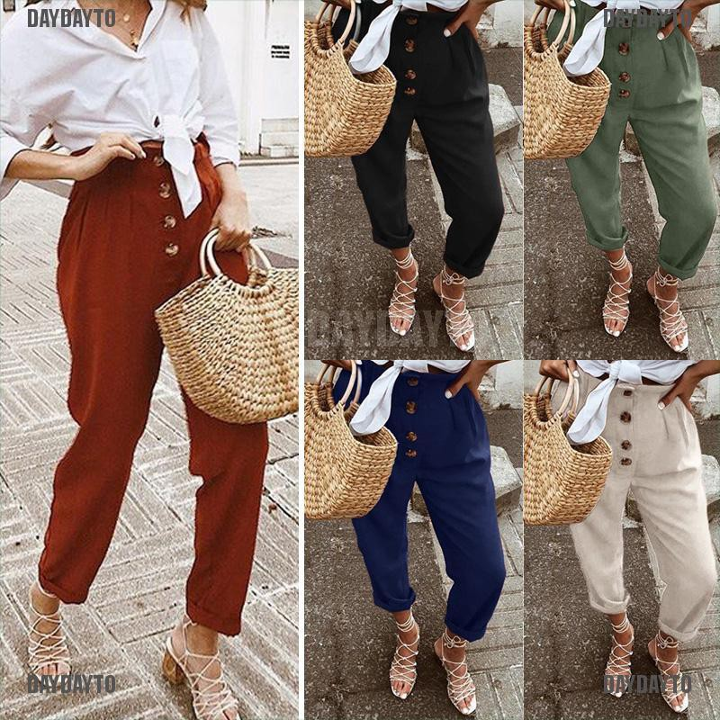 DAYDAYTO Women Pants High Waist Solid Ankle Length Trousers Female Sweatpants Loose Pants [COD]